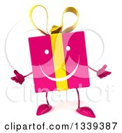 Clipart Of A 3d Happy Pink Gift Character Shrugging Royalty Free Illustration by Julos
