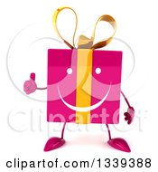 Clipart Of A 3d Happy Pink Gift Character Giving A Thumb Up Royalty Free Illustration by Julos
