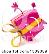 Clipart Of A 3d Happy Pink Gift Character Cartwheeling Royalty Free Illustration by Julos