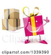 Clipart Of A 3d Happy Pink Gift Character Holding Up A Finger And Boxes Royalty Free Illustration by Julos