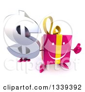 Clipart Of A 3d Happy Pink Gift Character Holding Up A Thumb And A Dollar Symbol Royalty Free Illustration by Julos