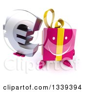 Clipart Of A 3d Happy Pink Gift Character Holding Up A Euro Symbol Royalty Free Illustration by Julos