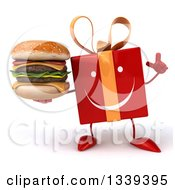 Clipart Of A 3d Happy Red Gift Character Holding Up A Finger And A Double Cheeseburger Royalty Free Illustration by Julos