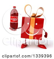 Clipart Of A 3d Happy Red Gift Character Holding A Soda Bottle Royalty Free Illustration by Julos