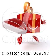 Clipart Of A 3d Happy Red Gift Character Holding A Beef Steak Facing Slightly Right And Jumping Royalty Free Illustration by Julos