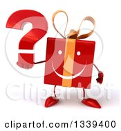 Clipart Of A 3d Happy Red Gift Character Holding A Question Mark Royalty Free Illustration by Julos