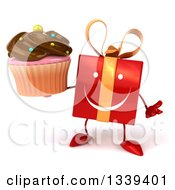 Clipart Of A 3d Happy Red Gift Character Shrugging And Holding A Chocolate Frosted Cupcake Royalty Free Illustration by Julos