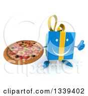 Clipart Of A 3d Happy Blue Gift Character Holding Up A Thumb And A Pizza Royalty Free Illustration by Julos