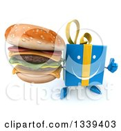 Clipart Of A 3d Happy Blue Gift Character Holding Up A Thumb And A Double Cheeseburger Royalty Free Illustration by Julos