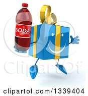 Clipart Of A 3d Happy Blue Gift Character Facing Slightly Right Jumping And Holding A Soda Bottle Royalty Free Illustration by Julos