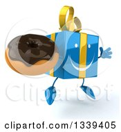 Clipart Of A 3d Happy Blue Gift Character Holding A Chocolate Glazed Donut Facing Slightly Right And Jumping Royalty Free Illustration by Julos