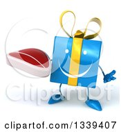 Clipart Of A 3d Happy Blue Gift Character Shrugging And Holding A Beef Steak Royalty Free Illustration by Julos