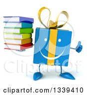 Clipart Of A 3d Happy Blue Gift Character Giving A Thumb Up And Holding A Stack Of Books Royalty Free Illustration by Julos