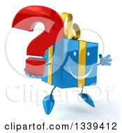 Clipart Of A 3d Happy Blue Gift Character Facing Slightly Left Jumping And Holding A Question Mark Royalty Free Illustration by Julos