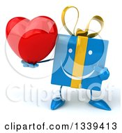 Clipart Of A 3d Blue Gift Character Holding And Pointing To A Love Heart Royalty Free Illustration by Julos
