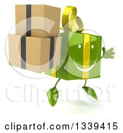 Clipart Of A 3d Happy Green Gift Character Facing Slightly Right Jumping And Holding Boxes Royalty Free Illustration