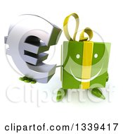 Clipart Of A 3d Happy Green Gift Character Holding Up A Euro Symbol Royalty Free Illustration