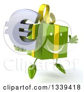 Clipart Of A 3d Happy Green Gift Character Facing Slightly Right Jumping And Holding A Euro Symbol Royalty Free Illustration