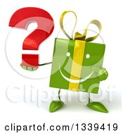 Clipart Of A 3d Happy Green Gift Character Holding And Pointing To A Question Mark Royalty Free Illustration