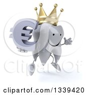 Clipart Of A 3d Happy Crowned Tooth Character Facing Slightly Right Jumping And Holding A Euro Currency Symbol Royalty Free Illustration