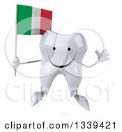 Clipart Of A 3d Happy Tooth Character Jumping And Holding An Italian Flag Royalty Free Illustration