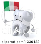 Clipart Of A 3d Unhappy Tooth Character Walking Slightly To The Left And Holding An Italian Flag Royalty Free Illustration