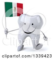 Clipart Of A 3d Happy Tooth Character Holding A Mexican Flag And Walking Royalty Free Illustration
