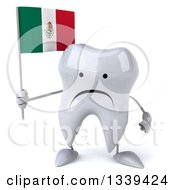 Clipart Of A 3d Unhappy Tooth Character Holding A Mexican Flag Royalty Free Illustration