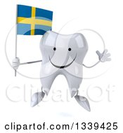 Clipart Of A 3d Happy Tooth Character Holding A Swedish Flag And Jumping Royalty Free Illustration