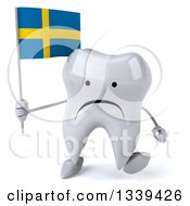 Clipart Of A 3d Unhappy Tooth Character Holding A Swedish Flag And Walking Royalty Free Illustration