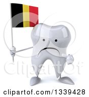 Clipart Of A 3d Unhappy Tooth Character Holding And Pointing To A Belgian Flag Royalty Free Illustration