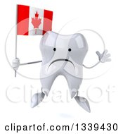 Clipart Of A 3d Unhappy Tooth Character Holding A Canadian Flag And Jumping Royalty Free Illustration