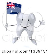 Clipart Of A 3d Happy Tooth Character Holding An Australian Flag And Jumping Royalty Free Illustration