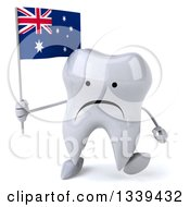 Clipart Of A 3d Unhappy Tooth Character Holding An Australian Flag And Walking Royalty Free Illustration