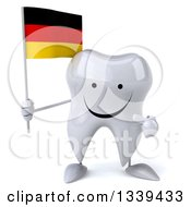 Clipart Of A 3d Happy Tooth Character Holding And Pointing To A German Flag Royalty Free Illustration