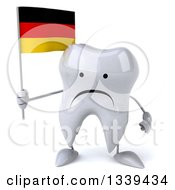 Clipart Of A 3d Unhappy Tooth Character Holding A German Flag Royalty Free Illustration