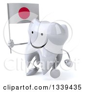 Clipart Of A 3d Happy Tooth Character Holding A Japanese Flag And Walking Slightly To The Left Royalty Free Illustration