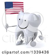 Clipart Of A 3d Happy Tooth Character Holding An American Flag And Walking Royalty Free Illustration