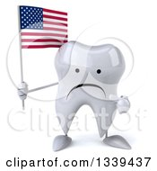 Clipart Of A 3d Unhappy Tooth Character Holding And Pointing To An American Flag Royalty Free Illustration