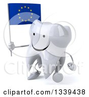 Clipart Of A 3d Happy Tooth Character Holding A European Flag And Walking Slightly To The Left Royalty Free Illustration