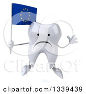 Clipart Of A 3d Unhappy Tooth Character Holding A European Flag And Jumping Royalty Free Illustration