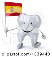 Clipart Of A 3d Happy Tooth Character Holding A Spanish Flag And Walking Royalty Free Illustration