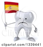 Clipart Of A 3d Unhappy Tooth Character Holding A Spanish Flag Royalty Free Illustration