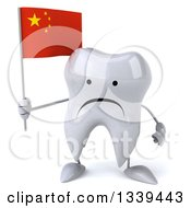 Clipart Of A 3d Unhappy Tooth Character Holding A Chinese Flag Royalty Free Illustration