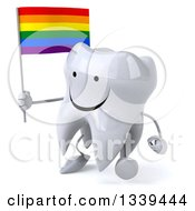 Clipart Of A 3d Happy Tooth Character Holding A Rainbow Flag And Walking Slightly Left Royalty Free Illustration