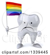 Clipart Of A 3d Unhappy Tooth Character Holding And Pointing To A Rainbow Flag Royalty Free Illustration