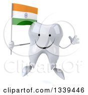 Clipart Of A 3d Happy Tooth Character Holding An Indian Flag And Jumping Royalty Free Illustration