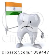 Clipart Of A 3d Unhappy Tooth Character Holding An Indian Flag Royalty Free Illustration