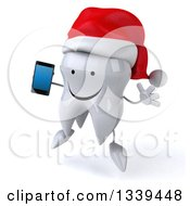 Clipart Of A 3d Happy Christmas Tooth Character Facing Slightly Left Jumping And Holding A Smart Cell Phone Royalty Free Illustration