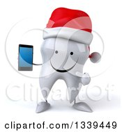 Clipart Of A 3d Happy Christmas Tooth Character Holding And Pointing To A Smart Cell Phone Royalty Free Illustration